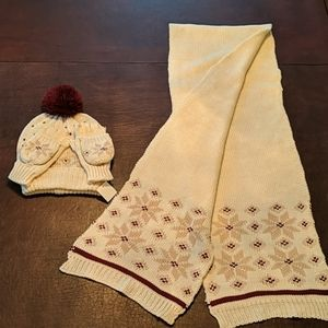 Women's Hat, Scarf & Pop-Top Gloves Set